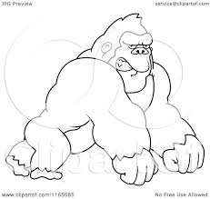 cartoon clipart of amad gorilla leaning forward on his knuckles