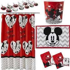 Disney Bath Rug Disney Mickey Minnie Mouse Bathroom Set Shower Curtain Hooks