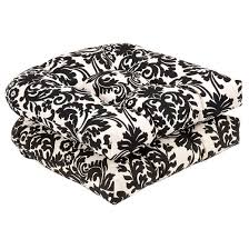 outdoor 2 piece chair cushion set black white floral target