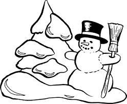 snowman christmas making snow mountain coloring
