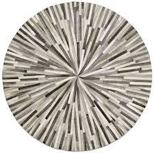 Boconcept Rugs Contemporary Round Rugs Grey Cowskin 150cm Diameter Contemporary