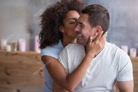 Husband Romance In Bedroom Giving A Kiss To Her Husband U2014 Stock Photo Dmyrto Z 129798136