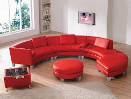 Red Ottoman Furniture Living Room Curved Red Top Grain Leather Sectional Sofa