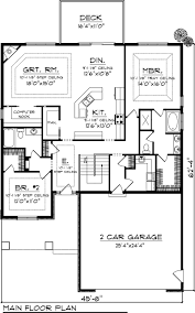lovely two bedroom house plans with garage 4 main floor plan for