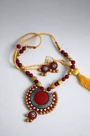 red necklace earrings set images Handmade terracotta jewellery traditional necklace earring set JPG