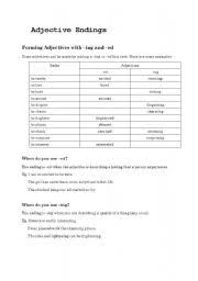 english exercises adjective endings ed ing