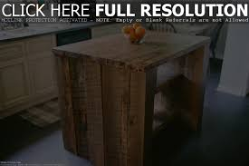 cool brown wooden kitchen island with four dark legs and floor