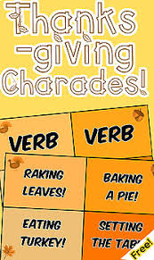 thanksgiving charades parts of speech practice freebie by mrwatts