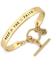 faith bracelets lyst bcbgeneration gold tone keep the faith bangle bracelet in
