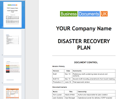 Plan Template Disaster Recovery Plan Template Essential Cover