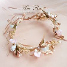 handmade tiaras women gold flower headbands bridal pearl tiaras hair bands