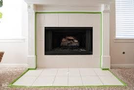 diy painted tile fireplace surround carefully tape the edges of the trim and flooring around