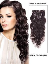 remy human hair extensions brown 2 wave deluxe clip in indian remy human hair