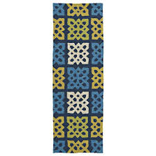Indoor Outdoor Rug Runner Kaleen Home And Porch Panel Blue 2 Ft X 6 Ft Indoor