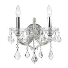 Crystal Candle Sconces Crystorama Chrome Finish 2 Light Clear Crystals Wall Sconce Free