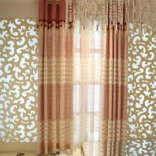Brown Floral Curtains Beige Floral Embossed Linen Cotton Blend Country Valance Curtains