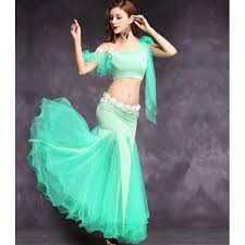 mint royal blue fuchsia belly dance costume set for women