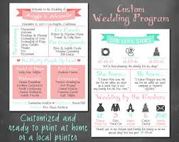 customized wedding programs wedding infographic etsy