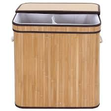 double laundry hamper with lid songmics laundry hamper basket double clothes storage natural