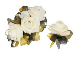 Black And White Corsage Colorful Artificial Flower Wedding Bouquet Corsage Matching Set