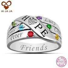 Rings With Names Engraved Aijaja Pure Sterling Silver Birthstones Names Engraved Rings For