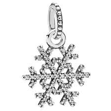 pandora necklace with pendant images Pandora winter kiss snowflake with clear cz pendant 344373