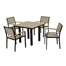 5 piece patio table and chairs polywood euro textured black 5 piece patio dining set with sand