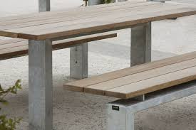 Bench And Table Set Contemporary Bench And Table Set Galvanized Steel Wooden For