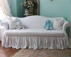 shabby chic sofa couch ruffle roses chenille bedspread slipcover