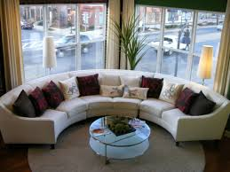 good living room with chic furniture of round sectional sofa also