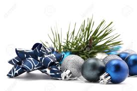 fancy bow with blue and silver ornaments and a pine