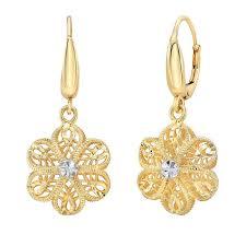 cool dangle earrings 14kt two tone gold flower dangle earrings