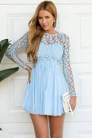 light blue long sleeve dress blue long sleeve crochet tulle skater dress