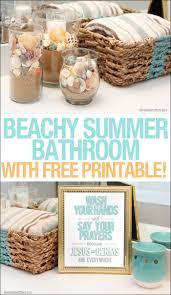 Free Bathroom Makeover - beachy summer bathroom makeover free bathroom printable how to