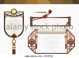 name tag template design of korean traditional concept stock photo
