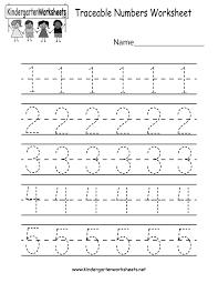 kindergarten traceable numbers worksheet printable preschool