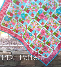 popular items for baby quilt pattern on etsy flower checked