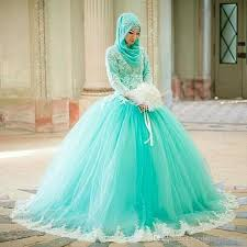 turquoise wedding muslim arabic dubai gown wedding dresses high neck