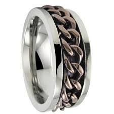 titanium colored rings images Men 39 s stainless steel spinner ring with bronze colored chain jpg&a
