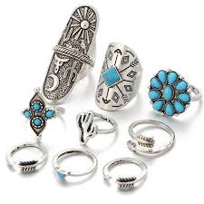 stone rings pictures images 9 piece ring set blue bohemian vintage stone rings roots and sticks jpg