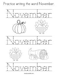 practice writing word november coloring twisty noodle