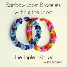 bracelet looms double images Triple fish tail rainbow loom bracelet using two pencils jpg