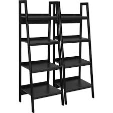 Leaning Ladder Bookcases by Ameriwood Home Lawrence 4 Shelf Ladder Bookcase Bundle Black Set
