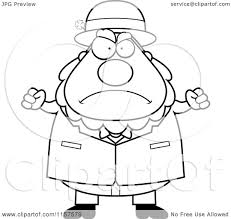 cartoon clipart of a black and white plump leprechaun waving his