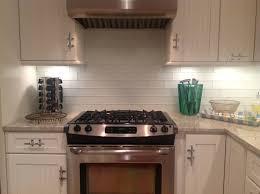 kitchen style taupe gloss subway tile kitchen backsplash with