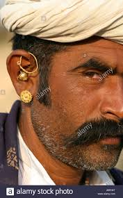 gujarati earrings gujarati tribal wearing typical mix of gold earrings stock