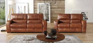 Leather Brown Sofas Lucca 3 2 Seater Marinelli Italia Real Leather Brown