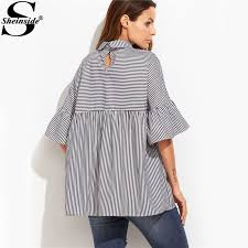 baby doll blouses sheinside striped blouses ruffle sleeve casual tops autumn