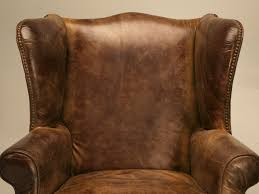 Winged Armchairs For Sale Outstanding Pair Of Vintage Distressed Bomber Leather Wing Back