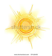 drawing yellow sun rays sketch stock vector 97418489